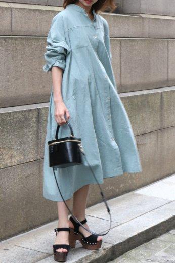 2way stand collar west ribbon linen mix dress / mint