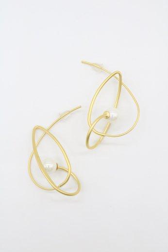 edge design perl pierced earrings