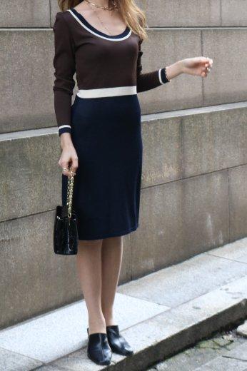 【vintage】FENDI / U neck  line summer knit dress