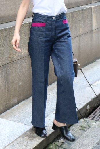 【vintage】FENDI / side line wide denim pants / 26inch