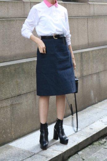 【vintage】FENDI / red piping denim skirt