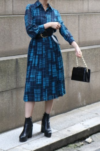 【vintage】see-through arms check pattern pleats dress