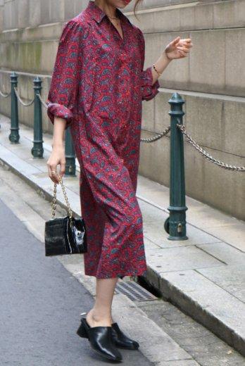 【vintage】paisley pattern skipper shirt dress