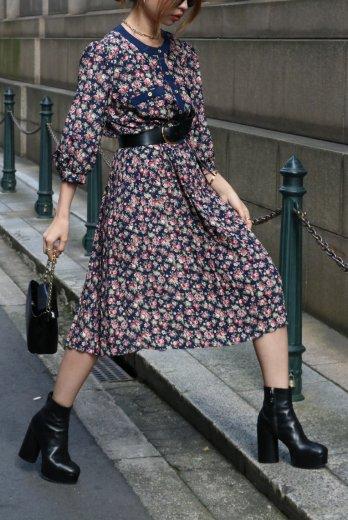 【vintage】round neck gold button rose pattern pleats dress