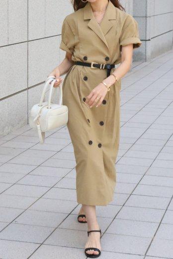 linen double jacket like dress / beige