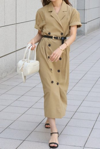 <img class='new_mark_img1' src='https://img.shop-pro.jp/img/new/icons57.gif' style='border:none;display:inline;margin:0px;padding:0px;width:auto;' />linen double jacket like dress / beige