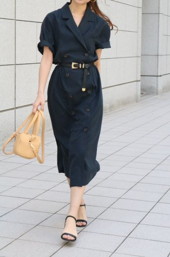 <img class='new_mark_img1' src='https://img.shop-pro.jp/img/new/icons57.gif' style='border:none;display:inline;margin:0px;padding:0px;width:auto;' />linen double jacket like dress / navy