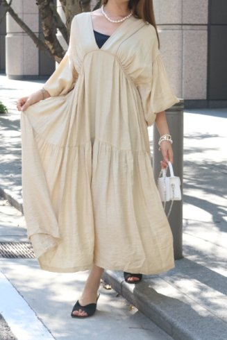 balloon sleeves tiered negligee maxi dress (petticoat set) / beige