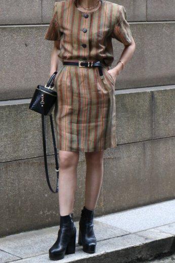 【vintage】Yves Saint Laurent / stripe pattern round neck short jacket & straight skirt set up