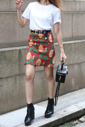 【vintage】KENZO / sun flower pattern shirring tight skirt