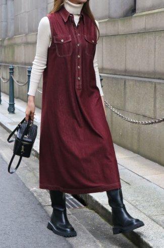 【vintage】90's white stitch sleeveless A line long dress / bordeaux