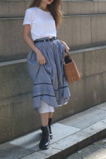 【vintage】90's satin piping check pattern volume flare cotton skirt (belt set)