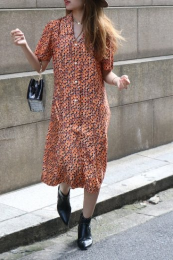 【vintage】80's cut away collar patterned all over old dress