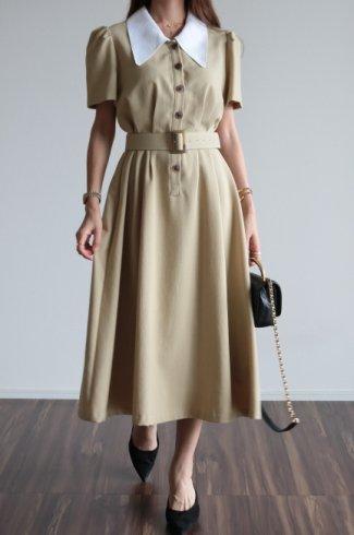 barrymore collar tuck design retro flare dress (belt set) / beige