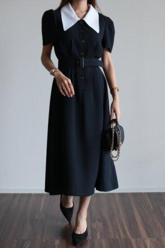 barrymore collar tuck design retro flare dress (belt set) / navy