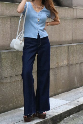 front wood like button summer rib knit tops / light blue