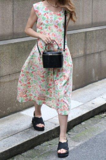 【vintage】 round neck waist ribbon floral sleeveless  flare dress