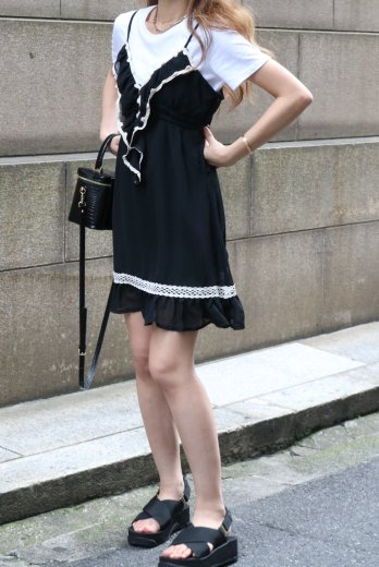 【vintage】lace piping frill design see-through camisole black dress