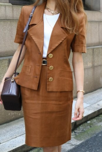 【vintage】Yves Saint Laurent / open collar peplum jacket & straight skirt linen set up