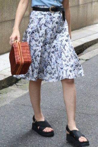 【vintage】BURBERRY / logo floral flare skirt