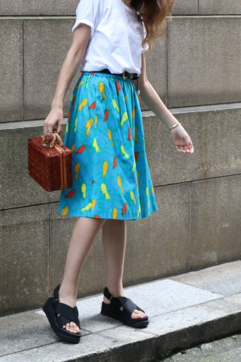 【vintage】Yves Saint Laurent / patterned all over cotton flare skirt