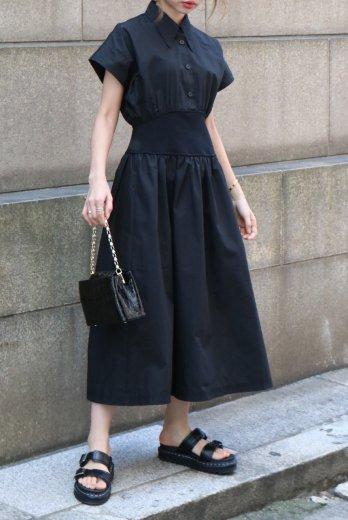 barrymore collar waist rib cotton flare dress