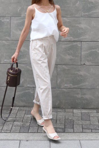 gingham check tepered pants / beige