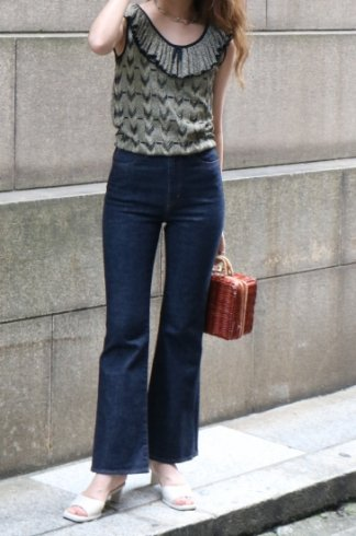 【vintage】Christian Dior / ruffled collar glitter sleeveless tops