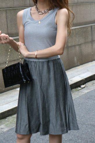 【vintage】FENDI / stripe sleeveless tops docking chambray flare dress
