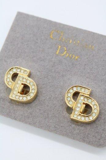 【vintage】Christian Dior / CD logo line stone earrings
