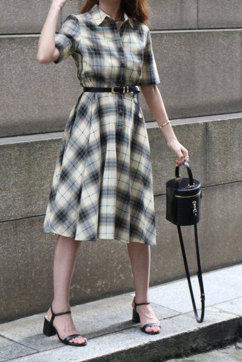 【vintage】front marble button madras check flare dress