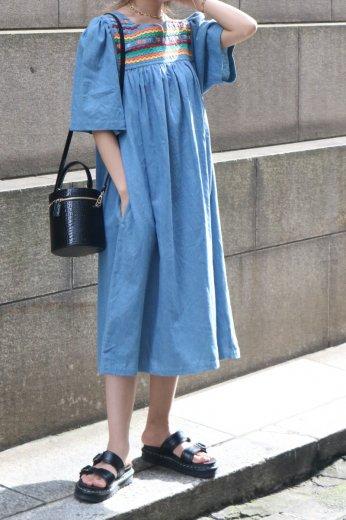 【vintage】slit neck embroidery floral denim sack dress