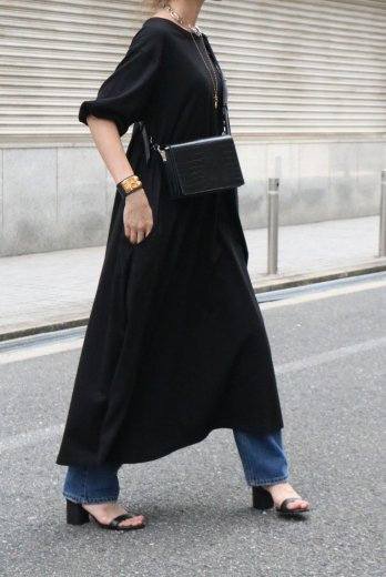 crew neck balloon sleeves cotton long dress / black