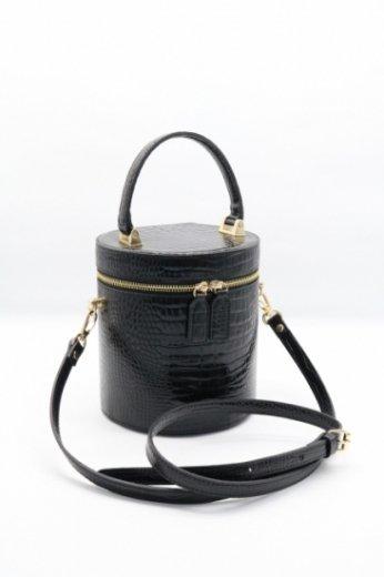 2way croco embossing cylindrical vanity bag / black
