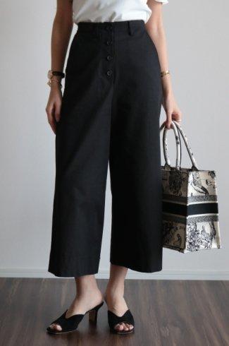 waist adjustment button wide cotton pants / black
