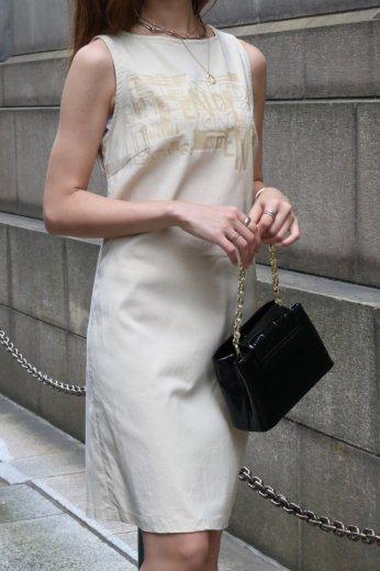 【vintage】FENDI / front rubber logo boat neck sleeveless dress