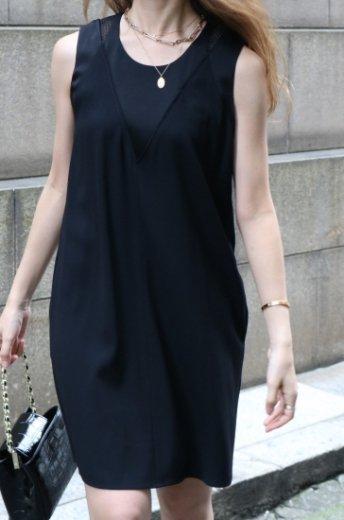 【vintage】KENZO / shoulder mesh yoke shift dress