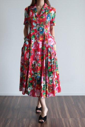 【vintage】KENZO / open collar floral  button down long shirt dress