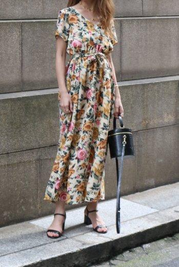 【vintage】V neck half shell button floral flare long dress