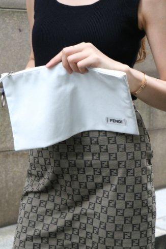 【vintage】FENDI / logo key ring nylon clutch bag
