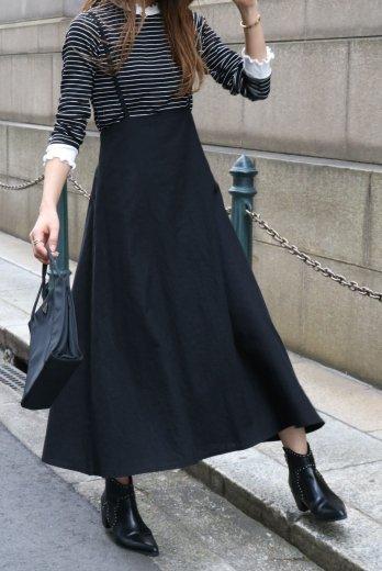 2way linen mix salopette skirt  / black