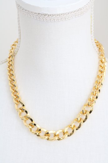 flat link chain necklace / gold