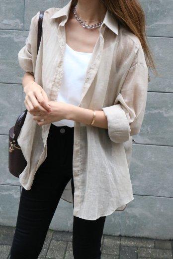 front shell button sheer shirt  / beige