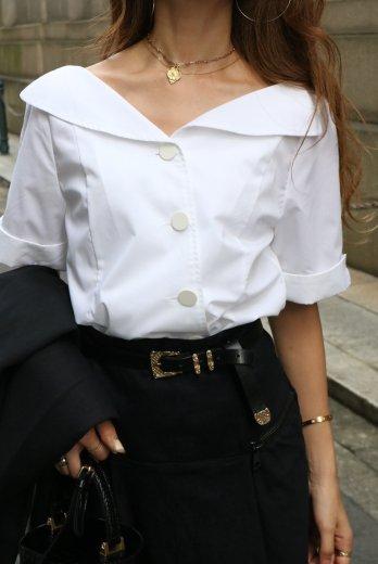 cut away collar front diagonally button blouse