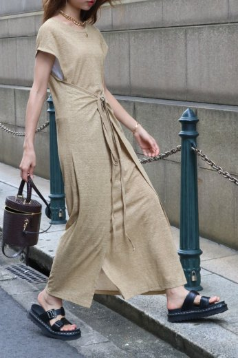 2way french sleeves linen wrap dress / beige
