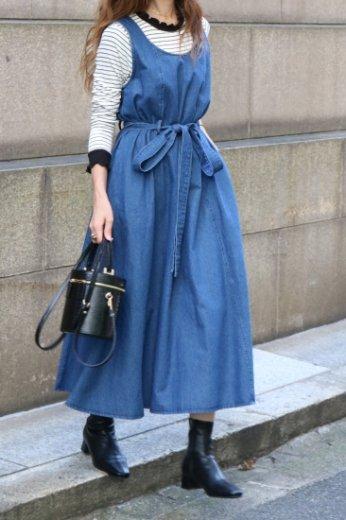 U neck sleeveless denim flare dress (belt ribbon set)