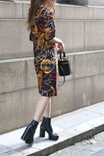 【vintage】CELINE / macadam charm chain scarf motif long dress