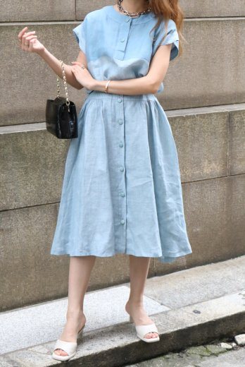 【vintage】Christian Dior / sleevless tops & button down flare skirt linen set up