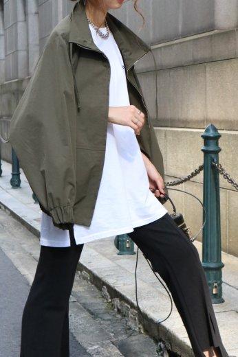 high neck draw string technical jacket / khaki