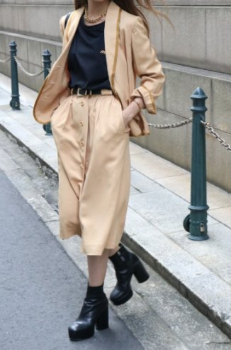 【vintage】Christian Dior / shawl collar jacket & button down flare skirt set up
